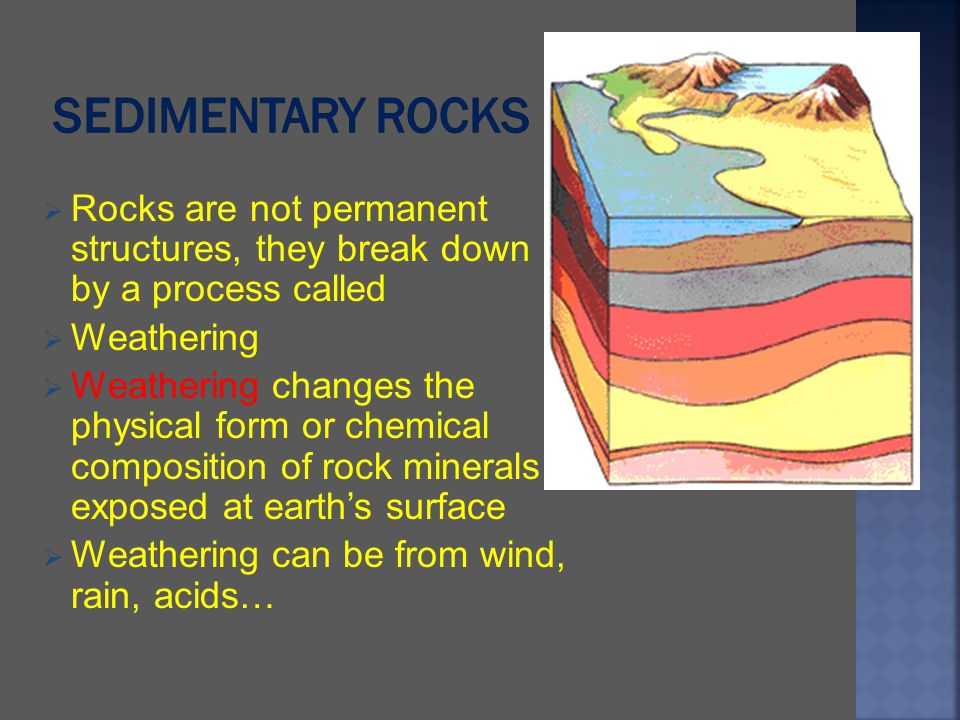 Sedimentary Rocks Rocks are not permanent structures, they break down by a process called.