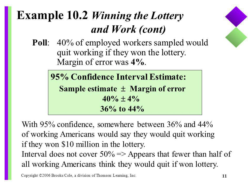 Example 10.2 Winning the Lottery and Work (cont)