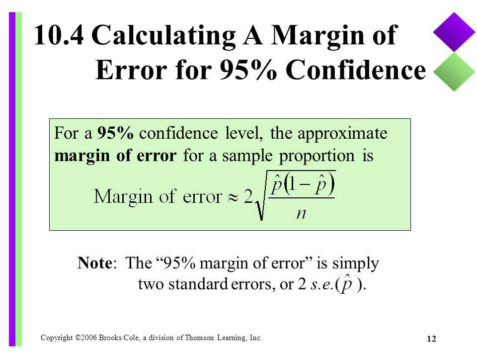 10.4 Calculating A Margin of Error for 95% Confidence