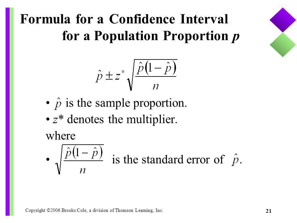 Formula for a Confidence Interval for a Population Proportion p