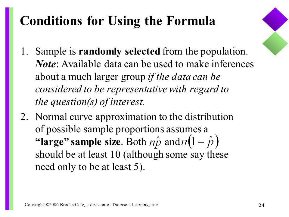 Conditions for Using the Formula