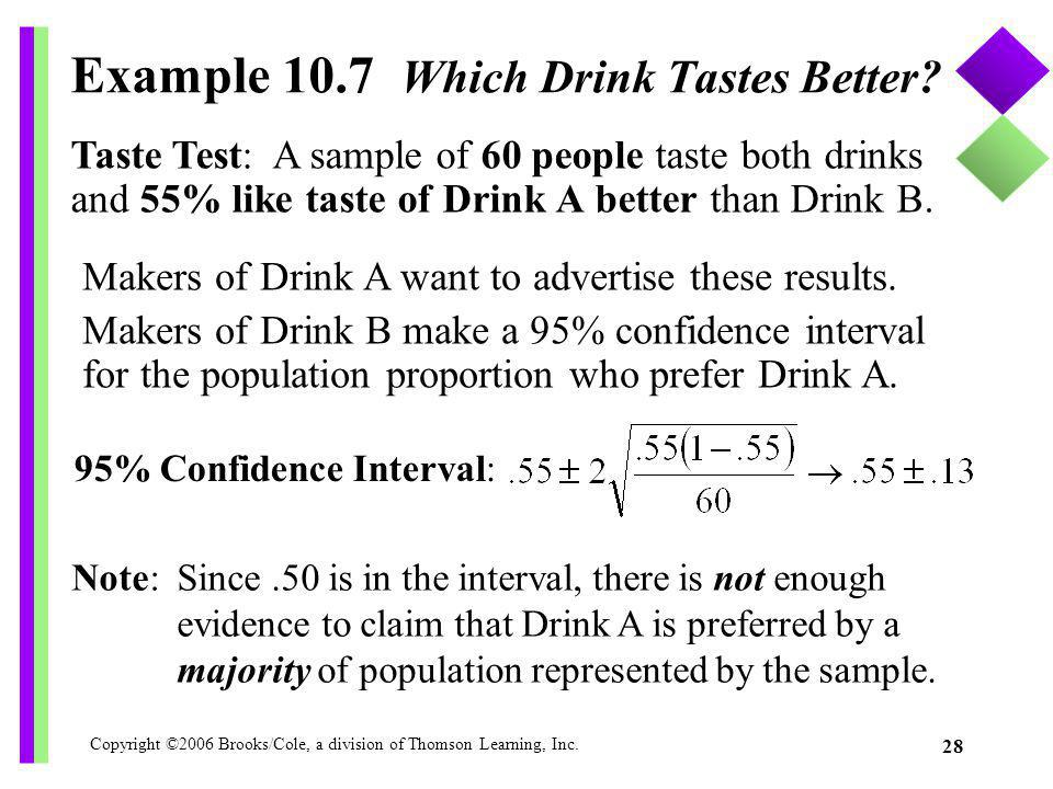 Example 10.7 Which Drink Tastes Better