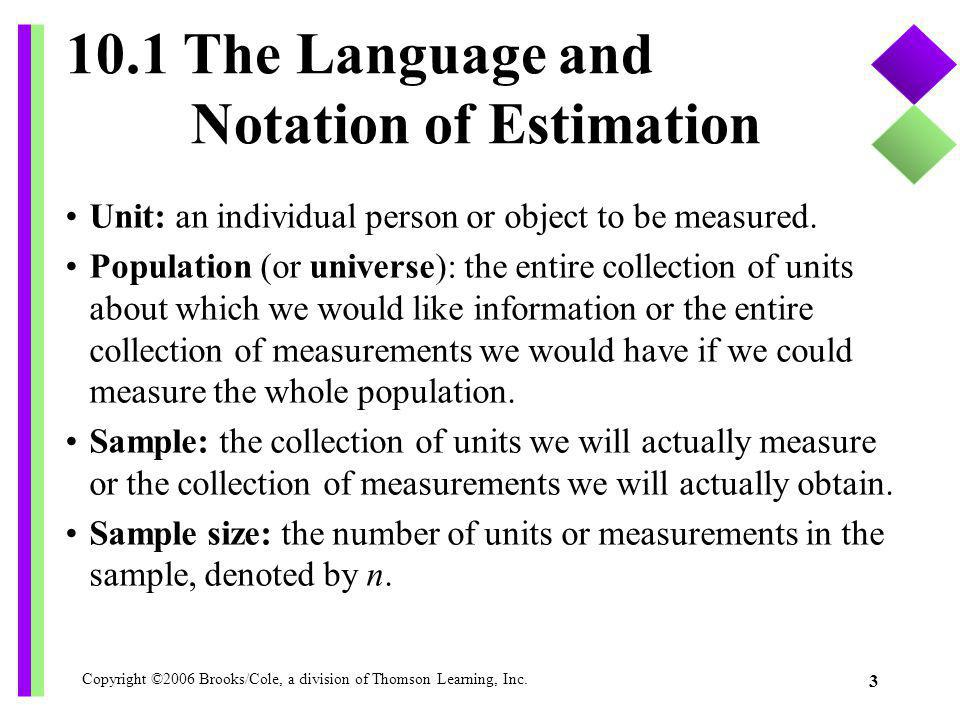 10.1 The Language and Notation of Estimation