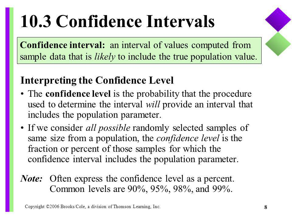 10.3 Confidence Intervals Interpreting the Confidence Level