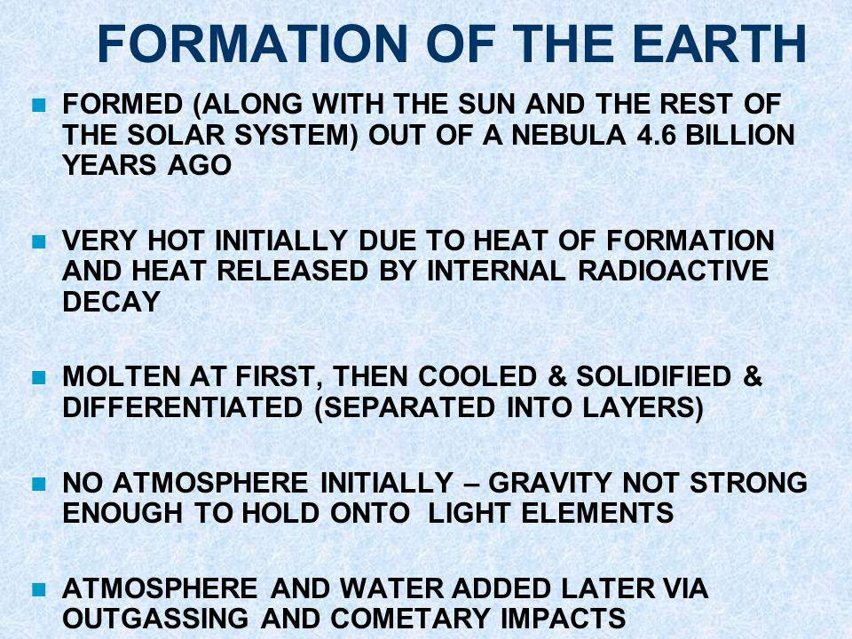 FORMATION OF THE EARTH FORMED (ALONG WITH THE SUN AND THE REST OF THE SOLAR SYSTEM) OUT OF A NEBULA 4.6 BILLION YEARS AGO.