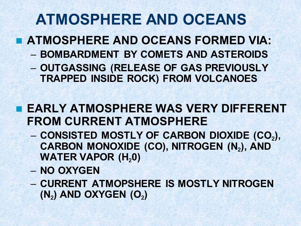 ATMOSPHERE AND OCEANS ATMOSPHERE AND OCEANS FORMED VIA: