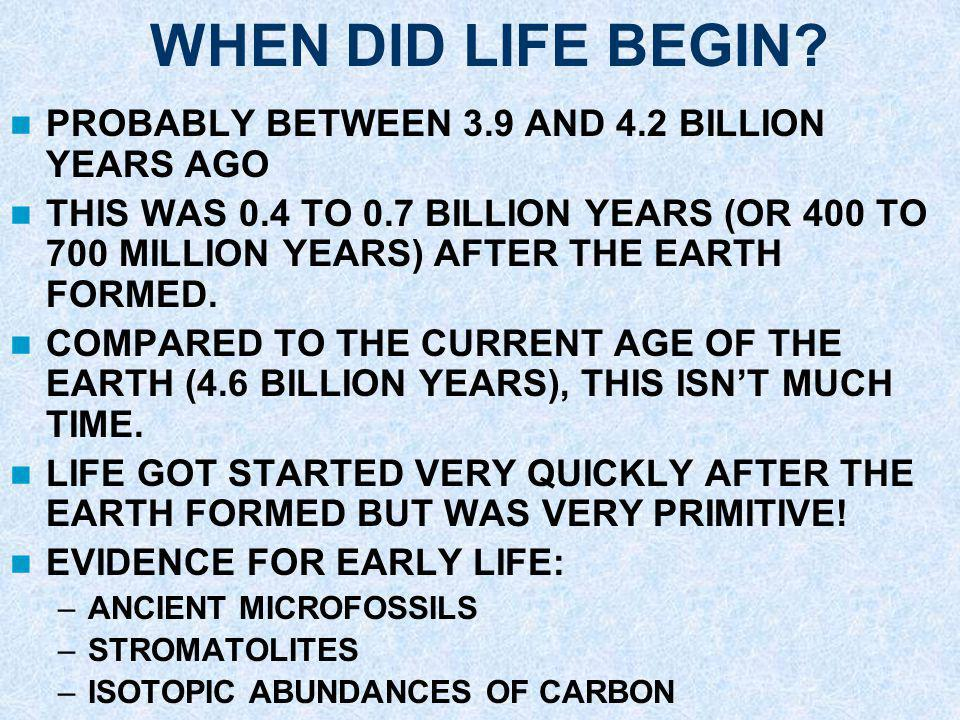 WHEN DID LIFE BEGIN PROBABLY BETWEEN 3.9 AND 4.2 BILLION YEARS AGO