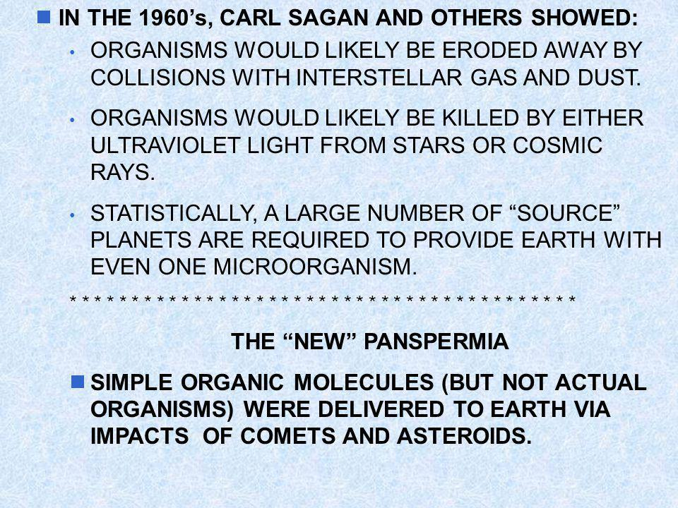 IN THE 1960's, CARL SAGAN AND OTHERS SHOWED:
