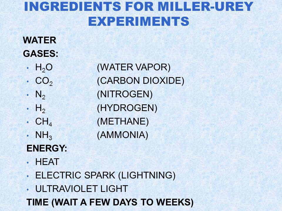 INGREDIENTS FOR MILLER-UREY EXPERIMENTS