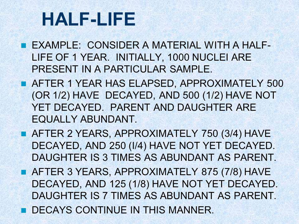HALF-LIFE EXAMPLE: CONSIDER A MATERIAL WITH A HALF-LIFE OF 1 YEAR. INITIALLY, 1000 NUCLEI ARE PRESENT IN A PARTICULAR SAMPLE.