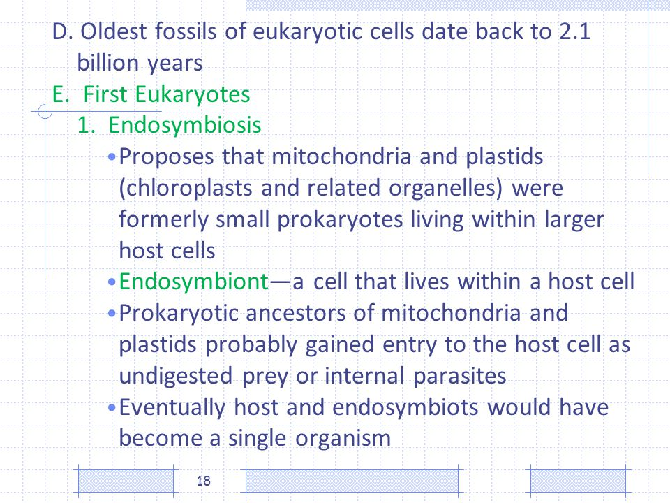 D. Oldest fossils of eukaryotic cells date back to 2.1 billion years