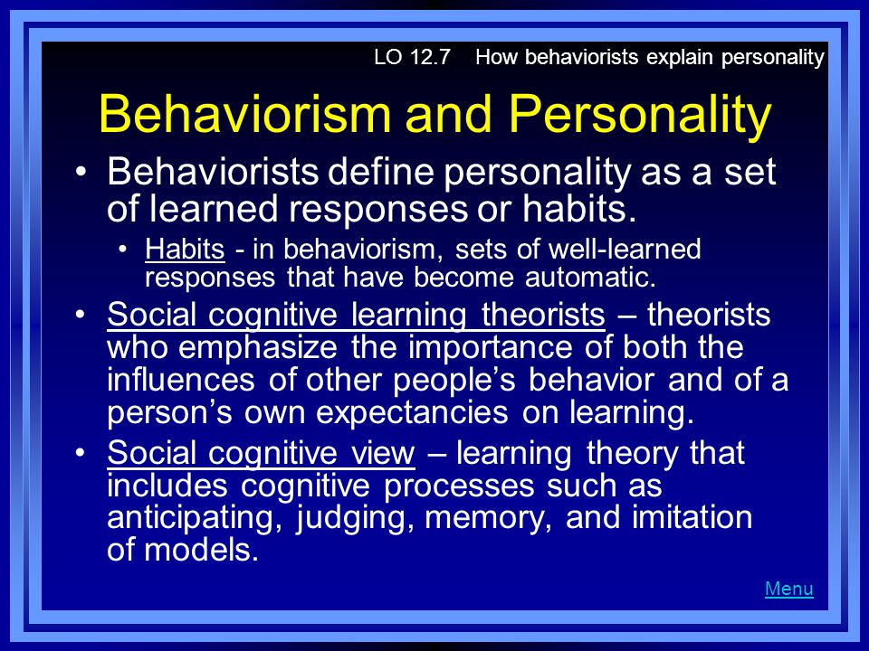 use the behavioral personality theory to explain why you have this habit Overview of reinforcement theory behaviorist bf skinner derived the reinforcement theory, one of the oldest theories of motivation, as a way to explain behavior and why we do what we do simply put, reinforcement theory claims that stimuli are used to shape behaviors there are four primary.