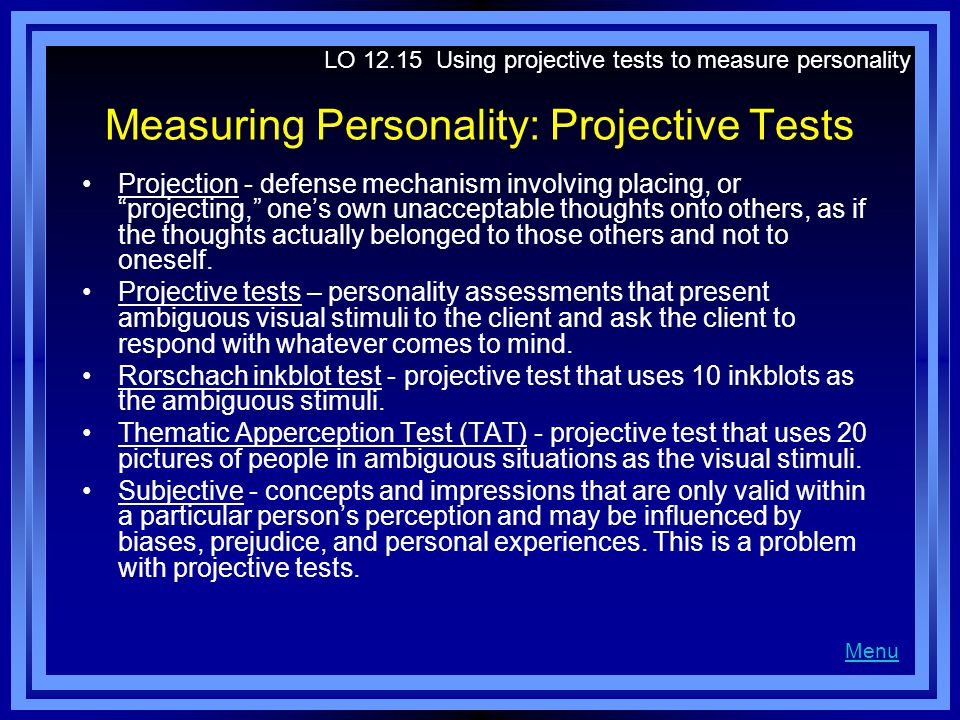 Measuring Personality: Projective Tests