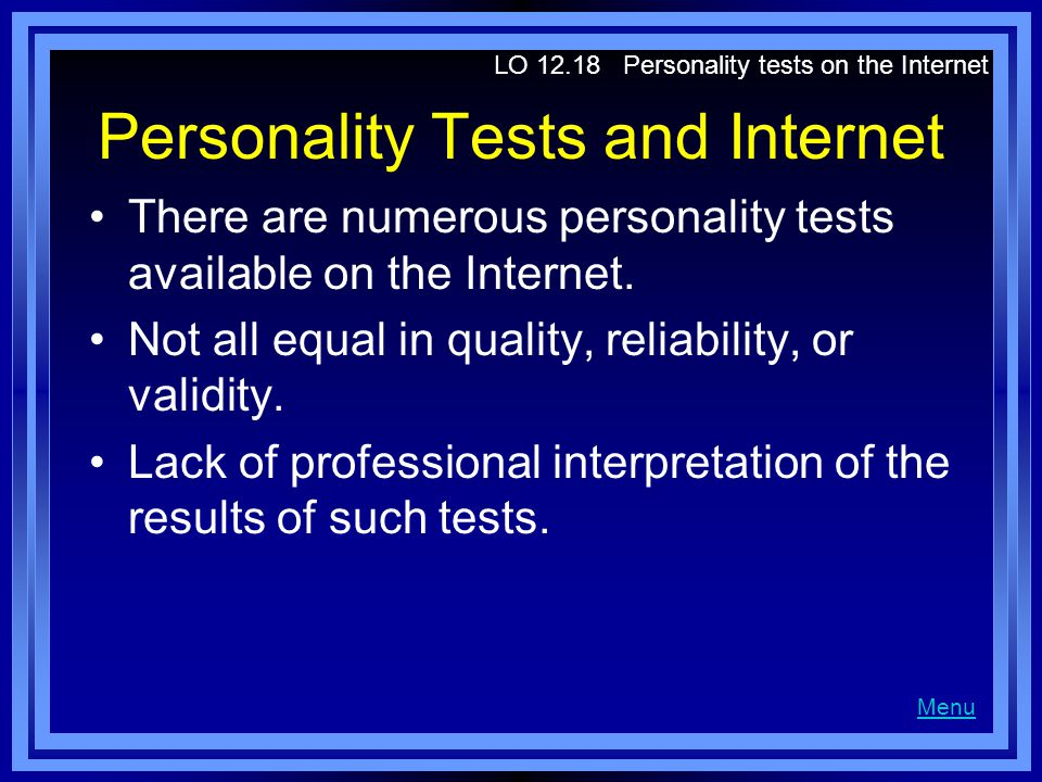 Personality Tests and Internet