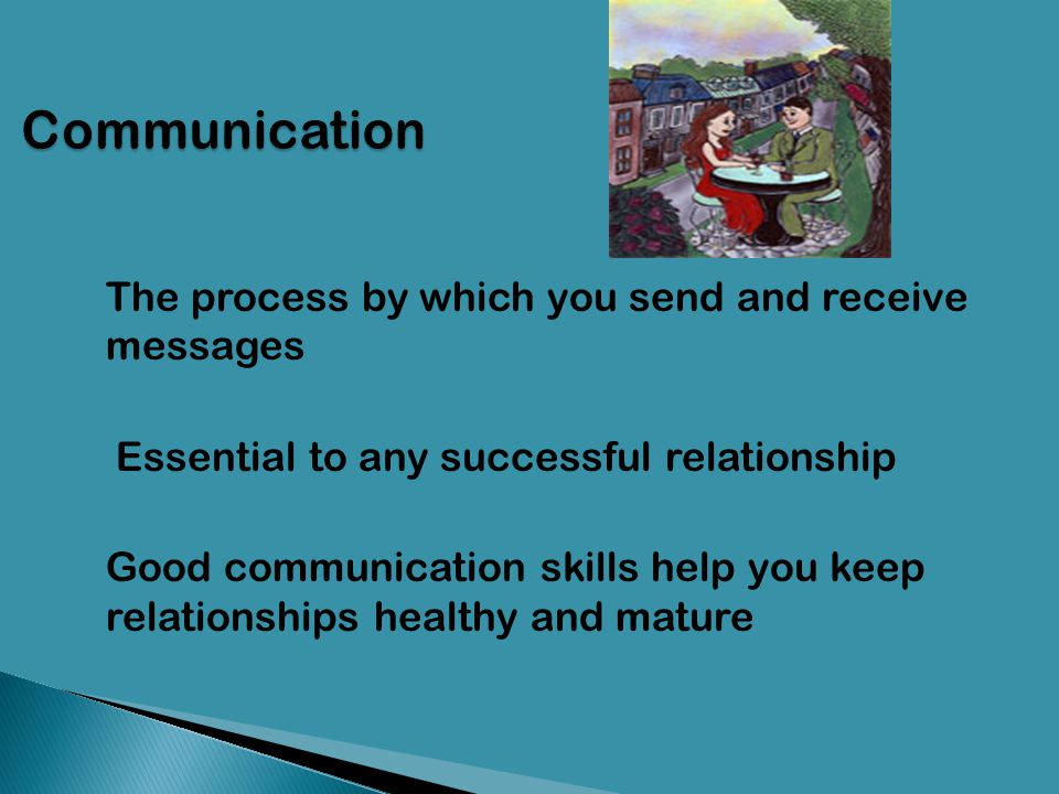 Communication The process by which you send and receive messages. Essential to any successful relationship.