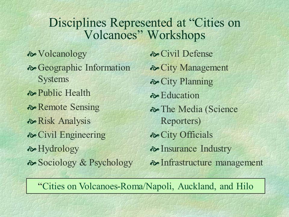 Disciplines Represented at Cities on Volcanoes Workshops