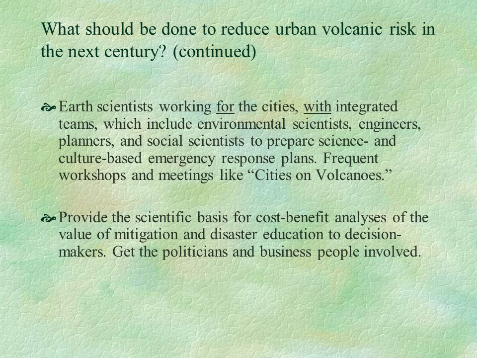 What should be done to reduce urban volcanic risk in the next century