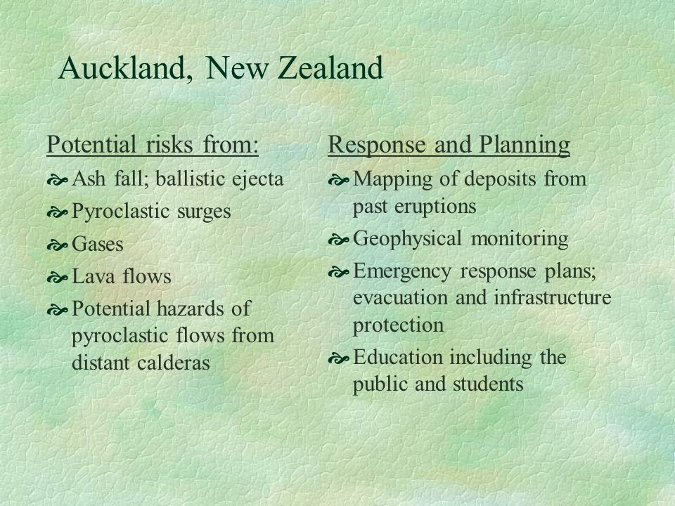 Auckland, New Zealand Potential risks from: Response and Planning