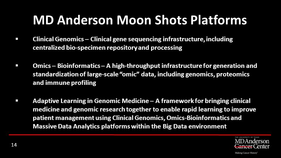 MD Anderson Moon Shots Platforms