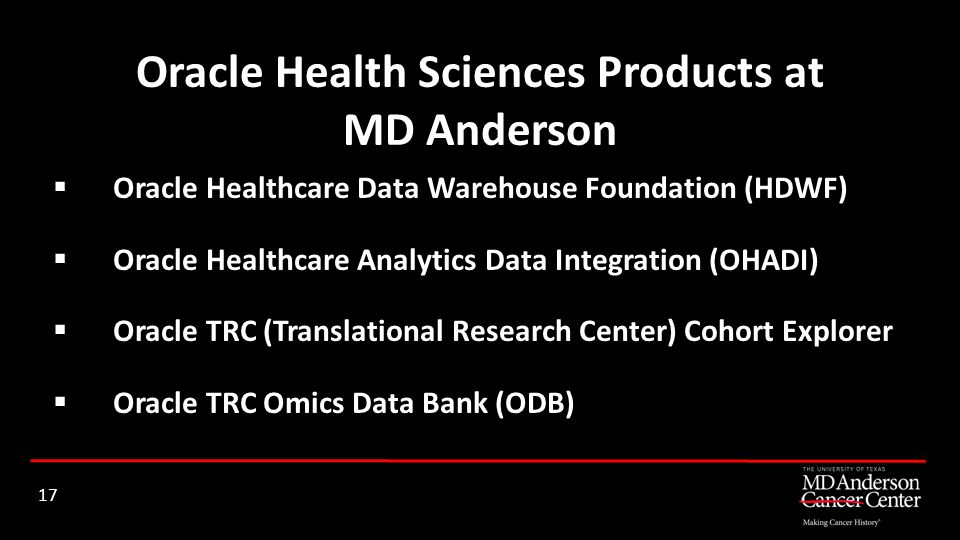 Oracle Health Sciences Products at MD Anderson