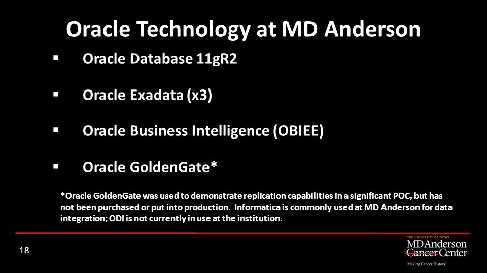 Oracle Technology at MD Anderson