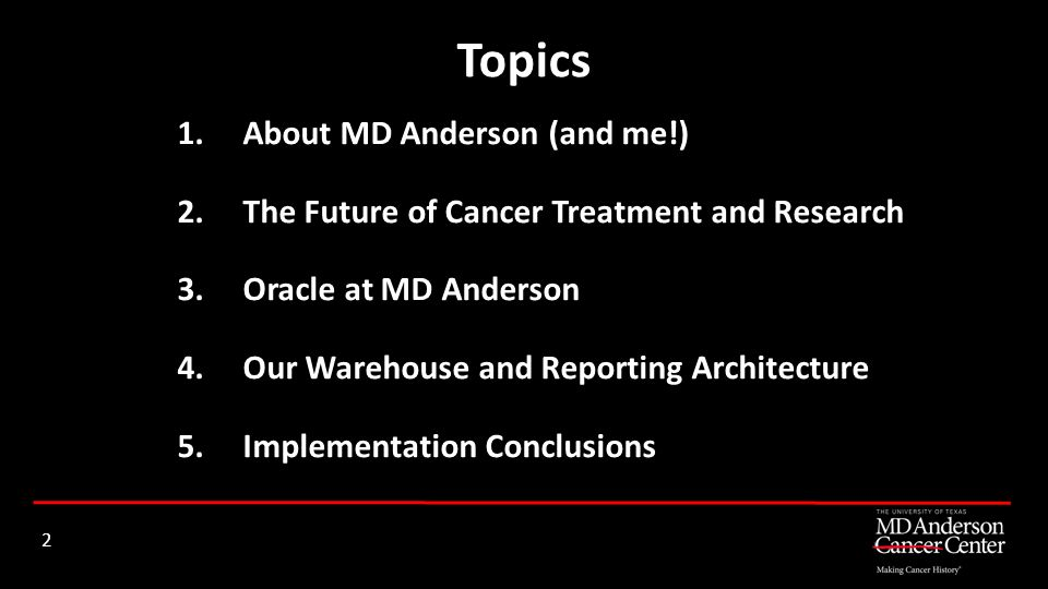 Topics About MD Anderson (and me!)