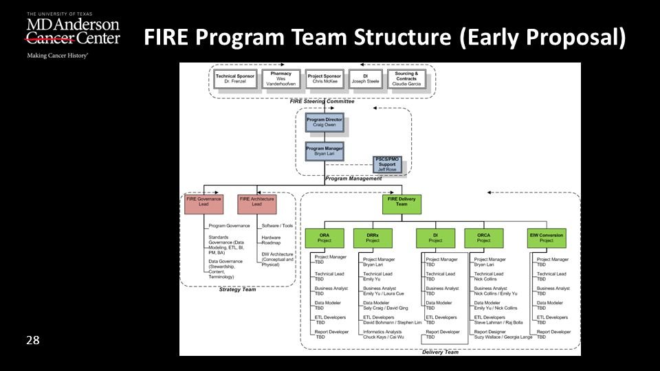 FIRE Program Team Structure (Early Proposal)