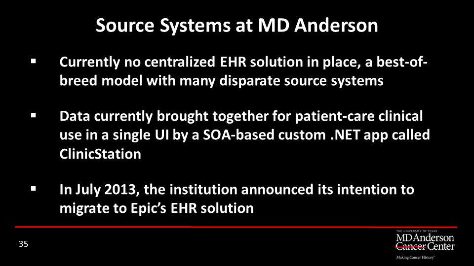 Source Systems at MD Anderson