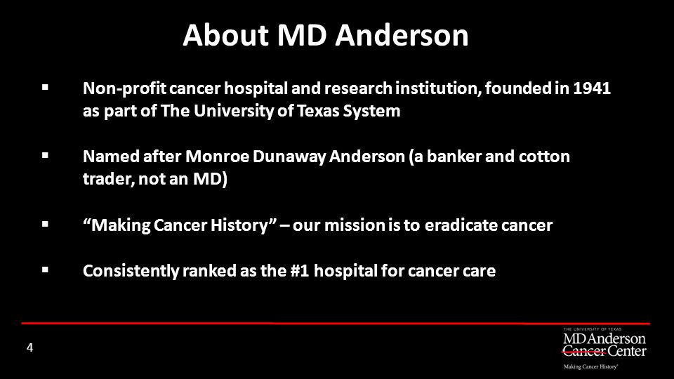 About MD Anderson Non-profit cancer hospital and research institution, founded in 1941 as part of The University of Texas System.