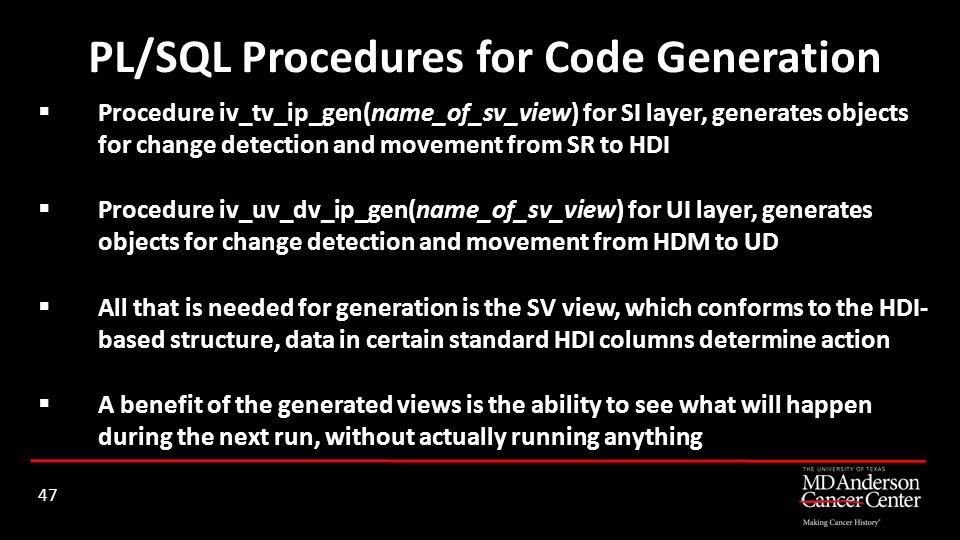 PL/SQL Procedures for Code Generation