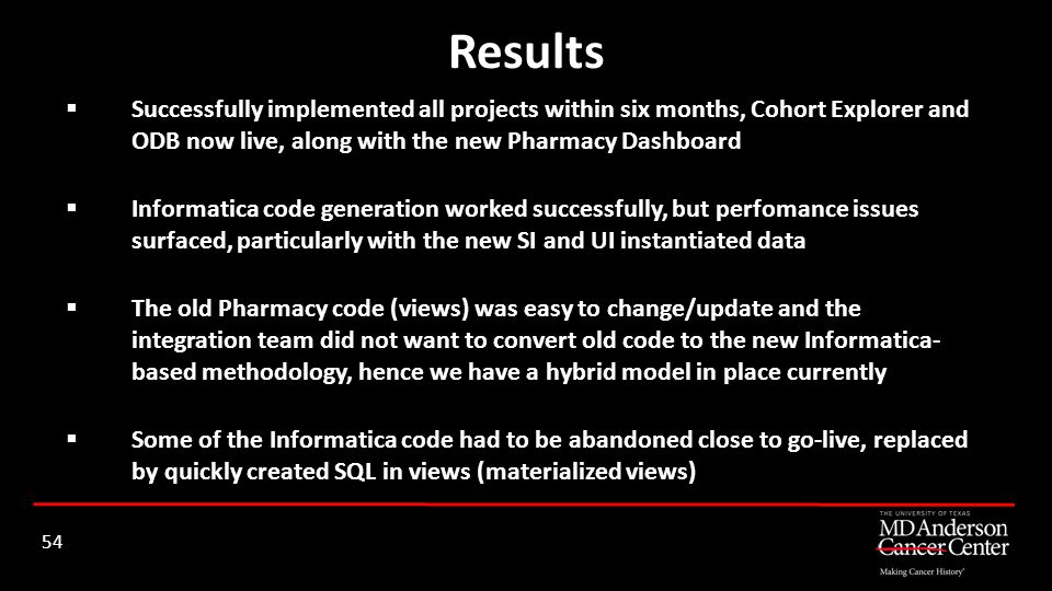 Results Successfully implemented all projects within six months, Cohort Explorer and ODB now live, along with the new Pharmacy Dashboard.
