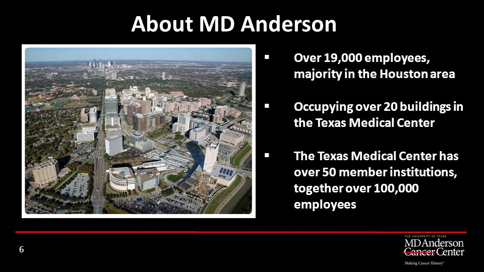 About MD Anderson Over 19,000 employees, majority in the Houston area
