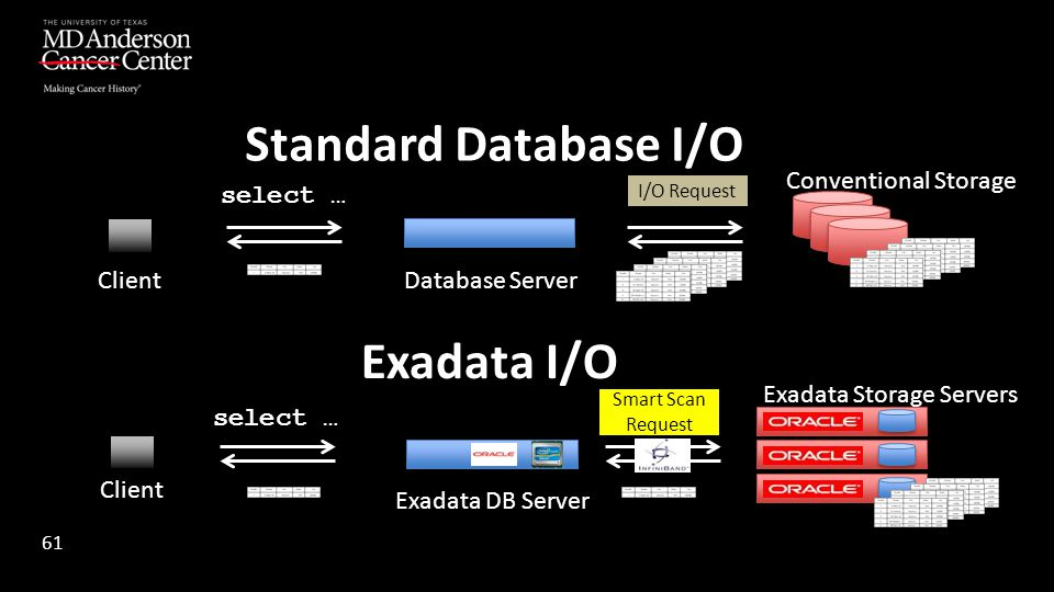 Standard Database I/O Exadata I/O