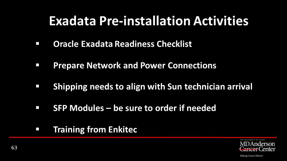 Exadata Pre-installation Activities
