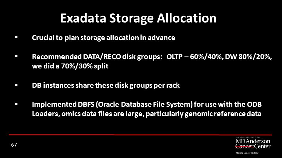 Exadata Storage Allocation