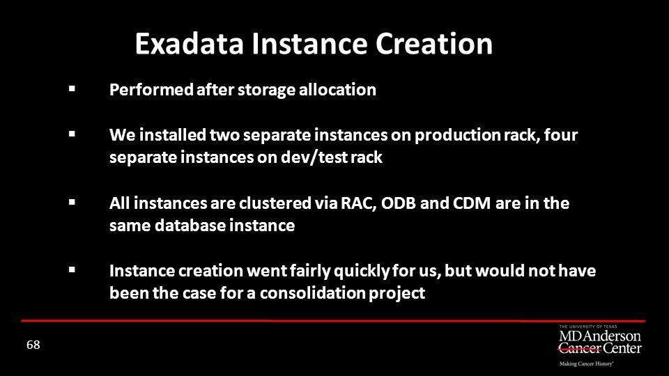Exadata Instance Creation