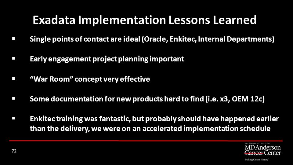 Exadata Implementation Lessons Learned