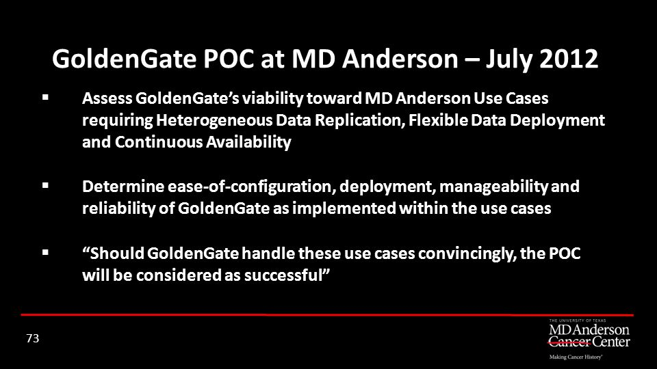GoldenGate POC at MD Anderson – July 2012