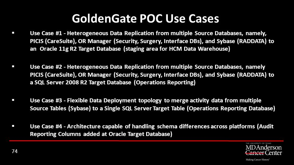 GoldenGate POC Use Cases