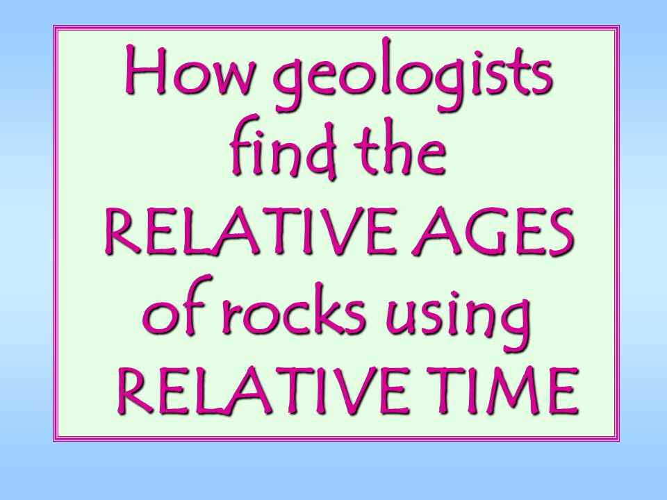 How geologists find the RELATIVE AGES of rocks using RELATIVE TIME