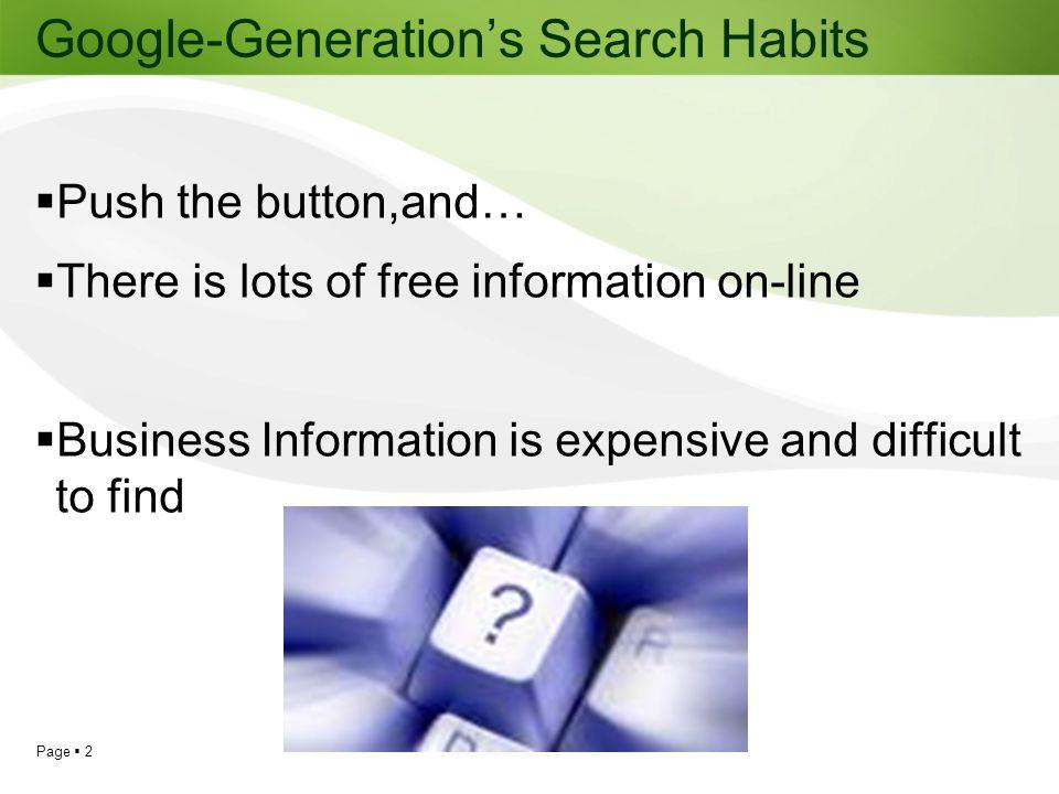 Google-Generation's Search Habits