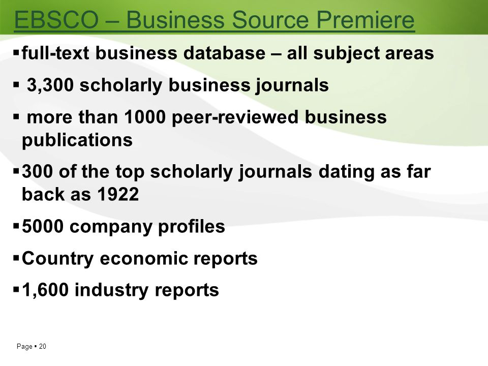 EBSCO – Business Source Premiere