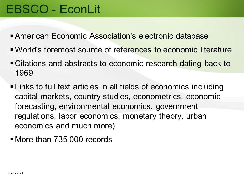 EBSCO - EconLit American Economic Association s electronic database