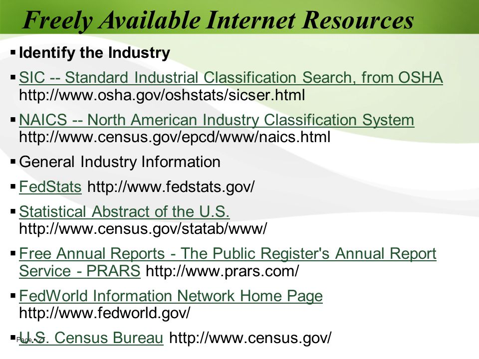 Freely Available Internet Resources