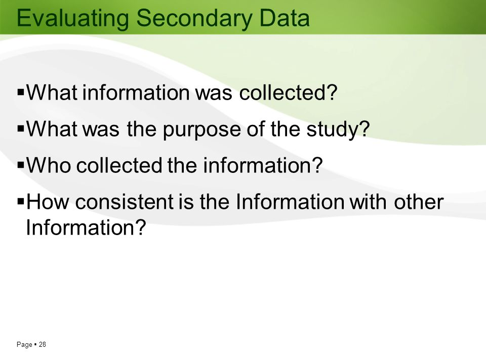 Evaluating Secondary Data