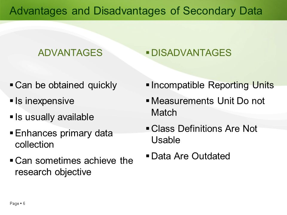 Advantages and Disadvantages of Secondary Data