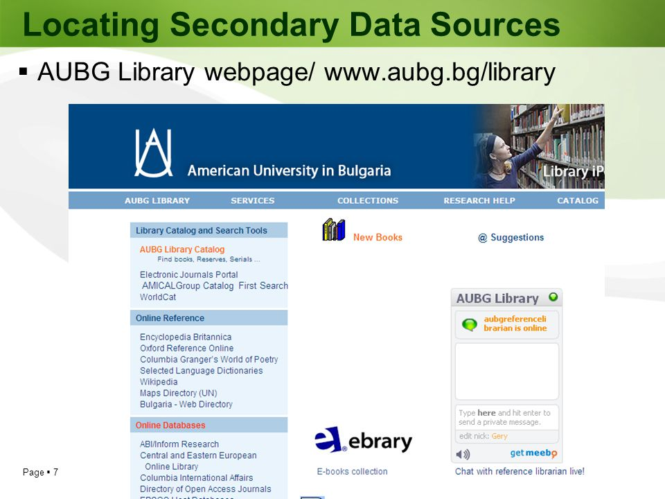 Locating Secondary Data Sources
