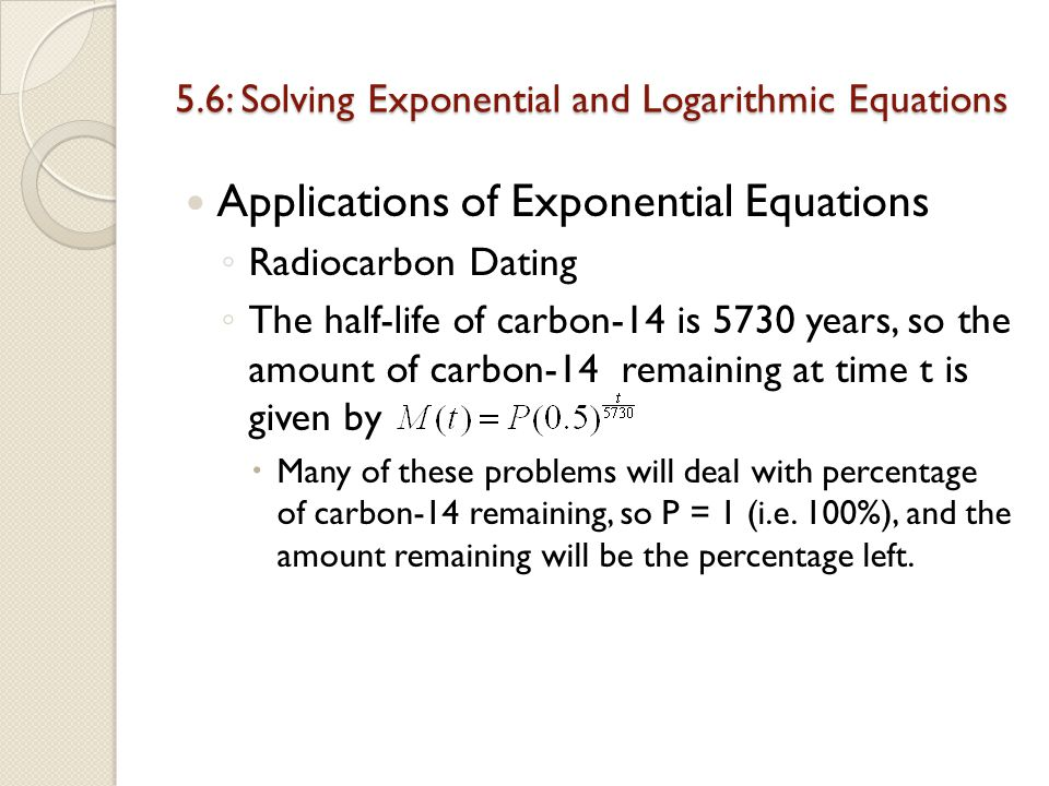 Radiocarbon dating example problem