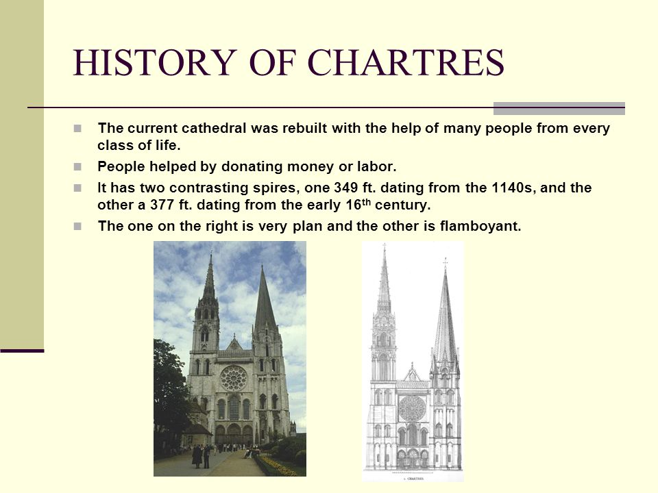 HISTORY OF CHARTRES The current cathedral was rebuilt with the help of many people from every class of life.