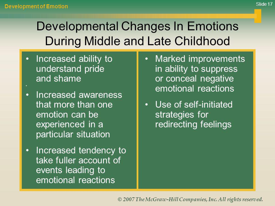 Developmental Changes In Emotions During Middle and Late Childhood